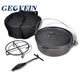 Preseasoned Cooking pot sets 7 pieces camping cast iron non stick cookware set