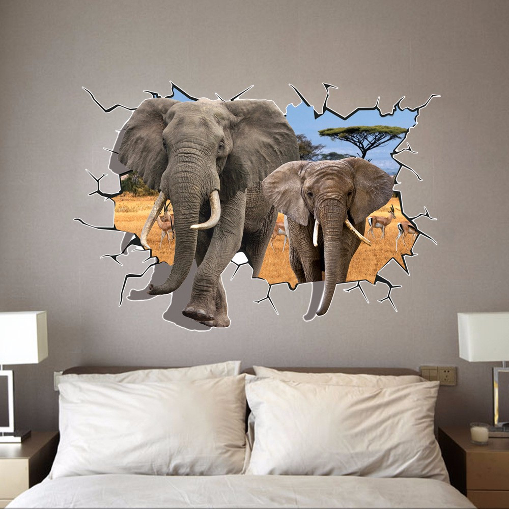 Customized room decor 3d wall stickers african elephant African elephant home decor