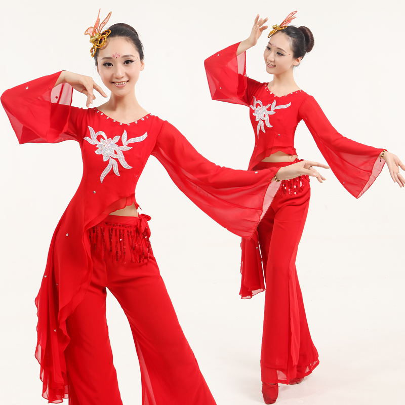 Get Quotations · Chinese folk dance yangko dance stage performance clothing  waist drum dance costumes fan dance 0528b2c2e