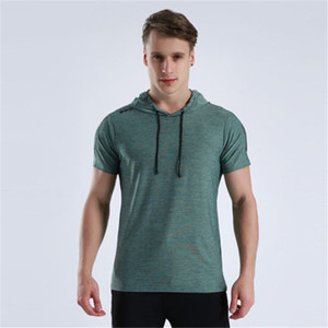 Blank Design Short Sleeve High Elastic Quick Dry Workout Clothes Running Football Basketball Sportswear Gym Hood t-shirt
