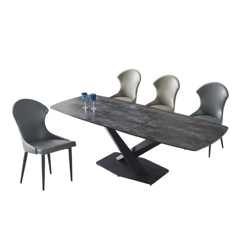 X Type Metal Feet imported Ceramic Top Extendable Long Set Dining <strong>Table</strong> with smart center sliding extendable dining room <strong>table</strong>