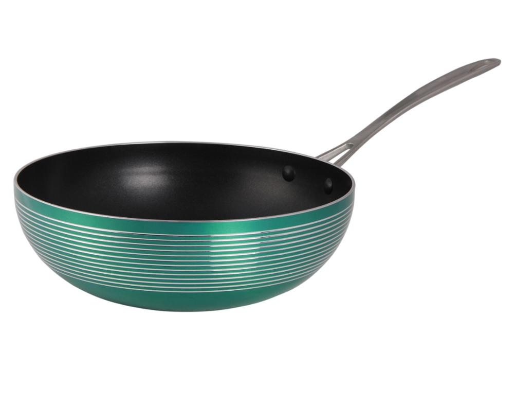 Chinese Gesmeed Spuitgieten Aluminium Non-stick Marmeren Coating Wok Pan Met Deksel