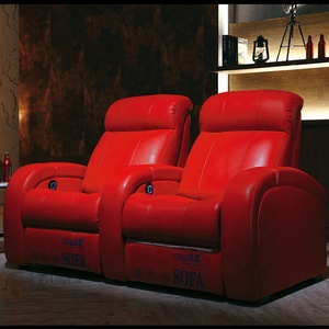Genuine red leather home theatre seats,electric reclining home theater chairs