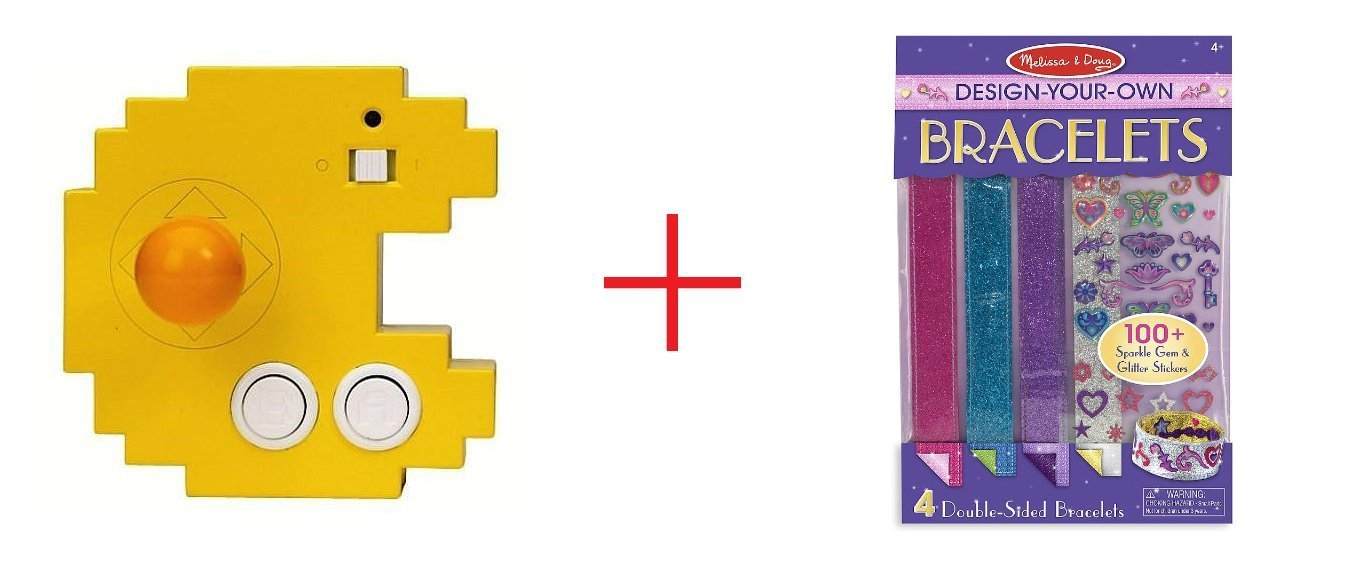 Pac-Man Connect and Play Classic Games and Melissa & Doug Design-Your-Own Bracelets - Sticker Style Braclets - Bundle