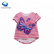 Cotton Butterfly Print Clothing Striped Tshirt Red Appliqued Striped Baby T Shirt