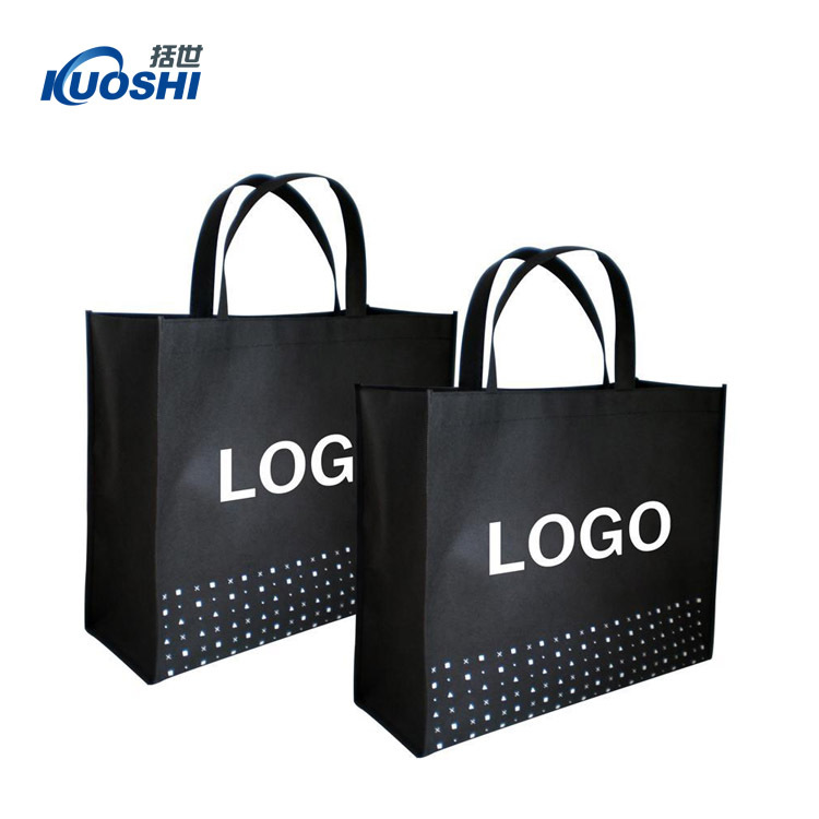 Daily use promotional tote black non woven shopping bag supermarket