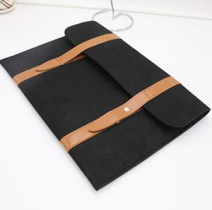 Business Leather / Felt Laptop Sleeve Carry Bag With Zipper Closure Custom Logo
