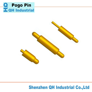 china factory made gold plated Brass Connector with Pogo Pin or spring loaded pin By Automatic Lathe