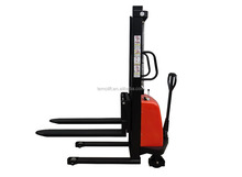 Double mast half powered pallet truck half electric stacker