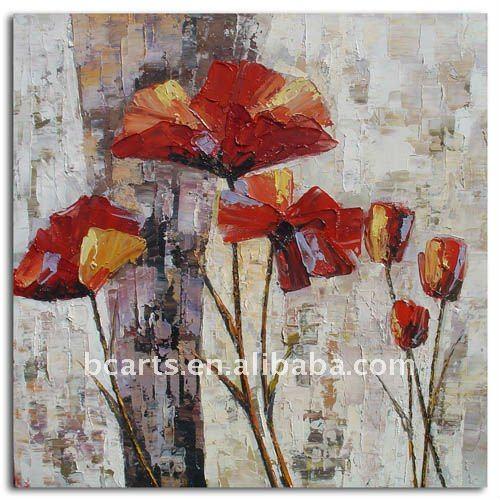 Abstraite moderne fleur d corative peinture sur toile et for Peinture moderne sur toile