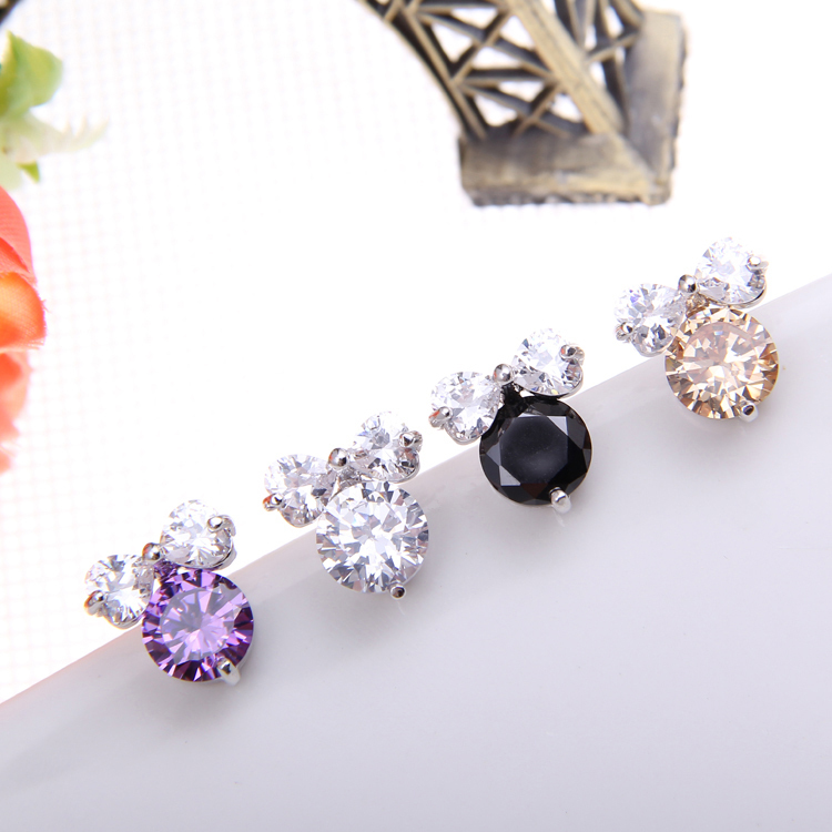 Get Quotations Cute S Jewelry Cz Diamond Bowknot Stud Earrings Real White Gold Top Quality Austria Crystal
