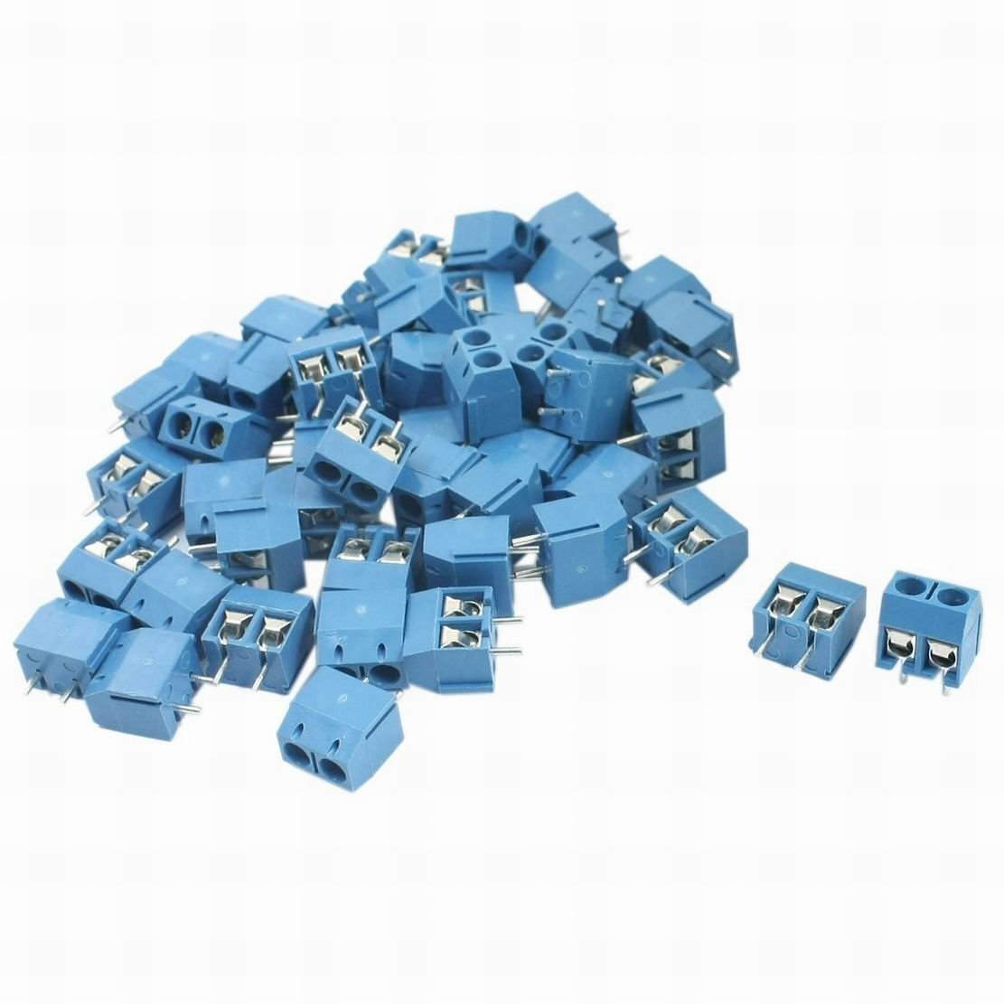 Ugtell 50Pcs 5mm Pitch Pluggable Type Blue Screw Terminal Block 300V 12A