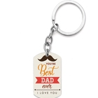 New Fashion Best Dad I Love You Stainless Steel Keychain Custom Photo Logo Color Printing Key Chain