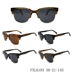 Half rim unisex mixed acetate polarized sunglass