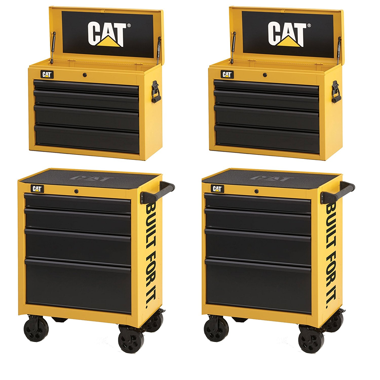 """Waterloo CAT2-IND2604CA Caterpillar (2) 26"""" 4-Drawer Cabinet, (2) 26"""" Tool Chest"""