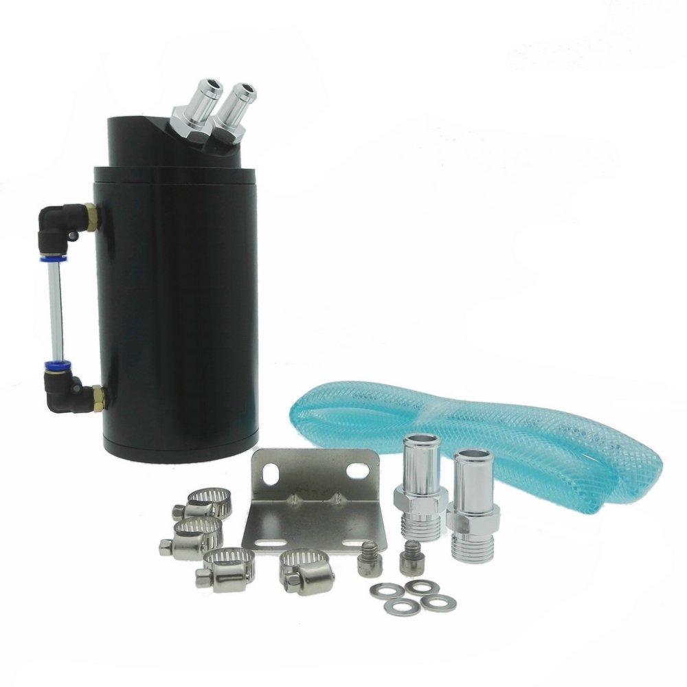 Heinmo Universal Cylindrical JDM Aluminum Engine Oil Catch Can Reservoir Tank-Black