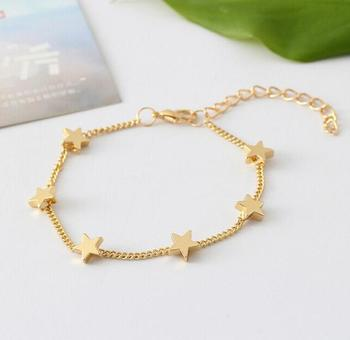 Zm33719a Simple Las New Model Gold Plated Heart Shaped Charm Bracelet