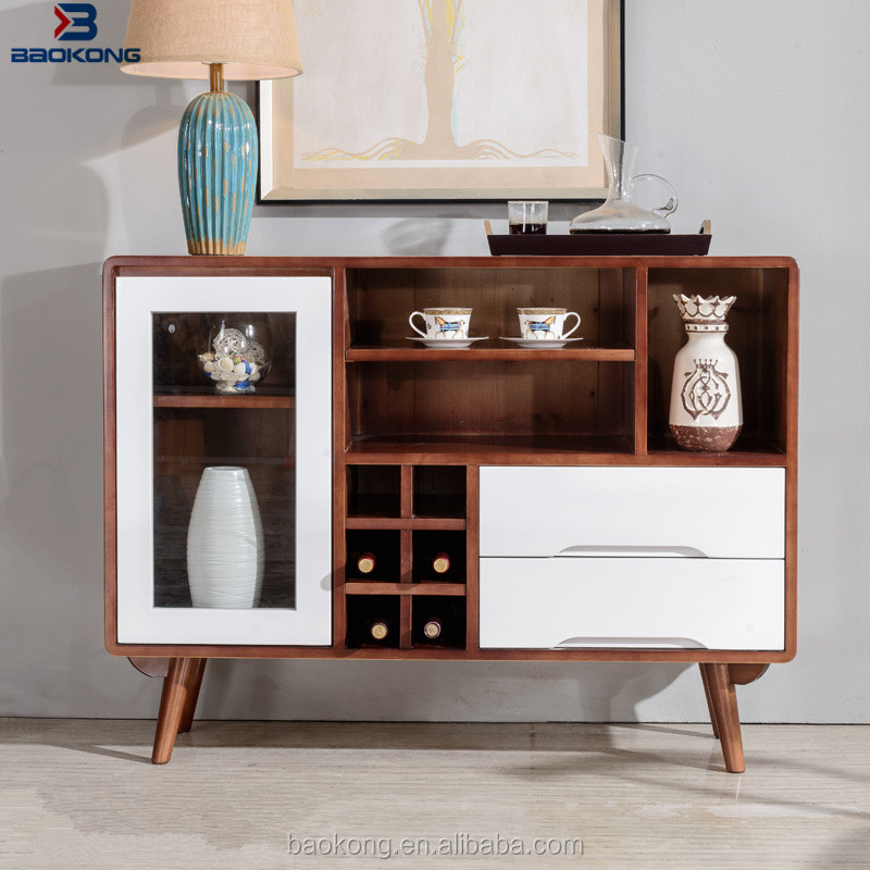 Solid Wood Dining Room Glass Door Sideboards With 2 Drawers