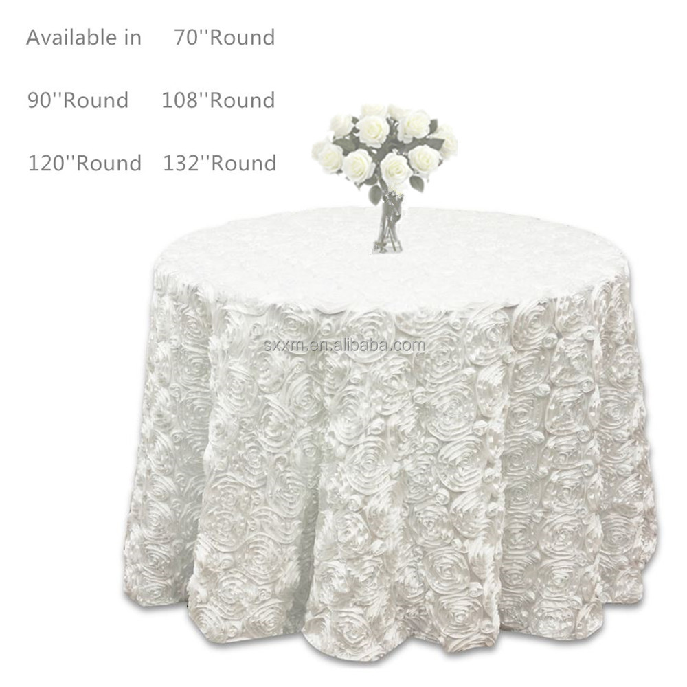 Wedding Party Rosette 3D Satin Table Cloth Tape Embroidery Rose Table Cover