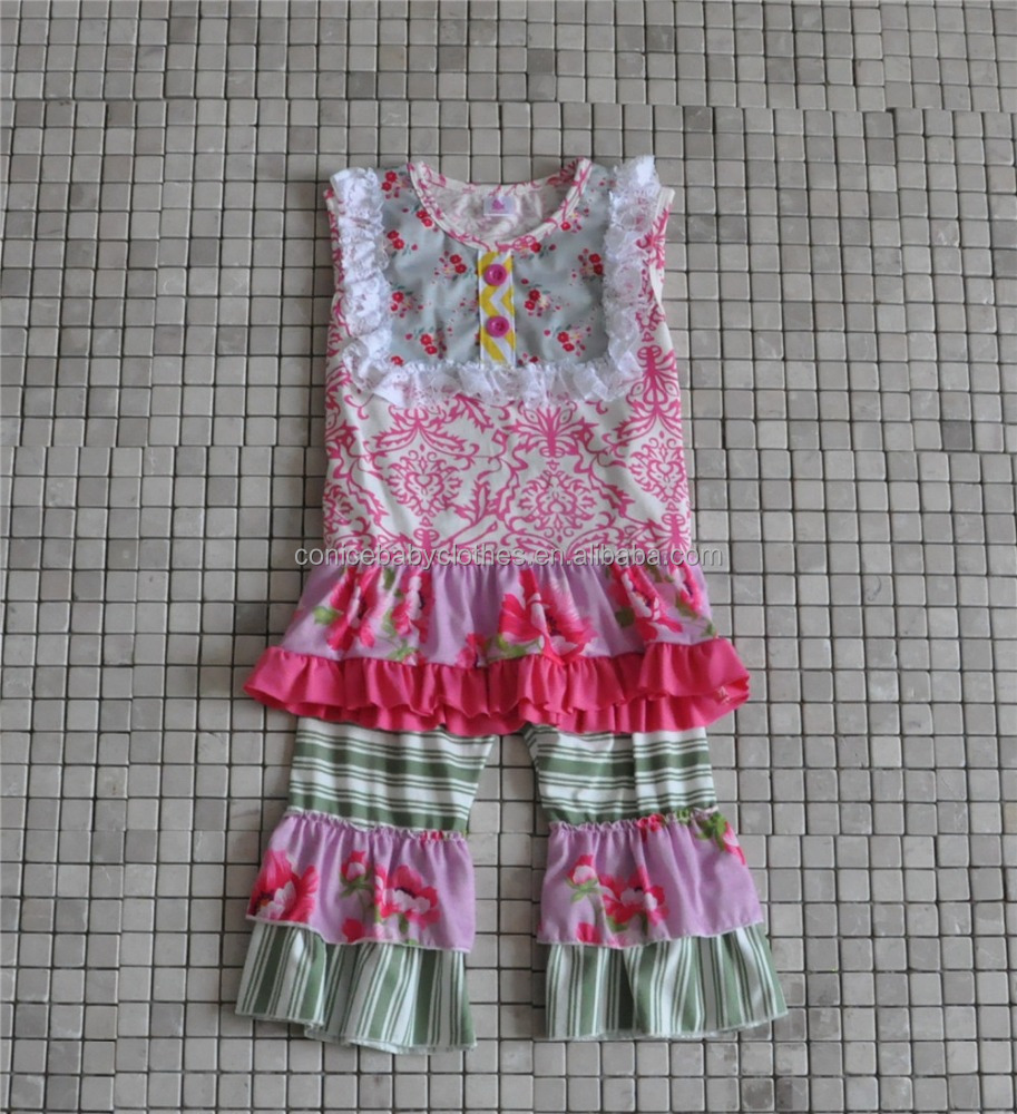 2017 new design children floral clothes girls summer ruffle dress for daily wear