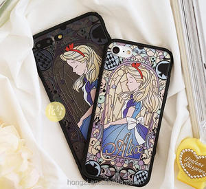 Cute Gril Alice Case Hard PC For iPhone 7 7Plus For iPhone 6 6s 6Plus 6sPlus Dream Wonderland Phone Back Cover Princess Cases