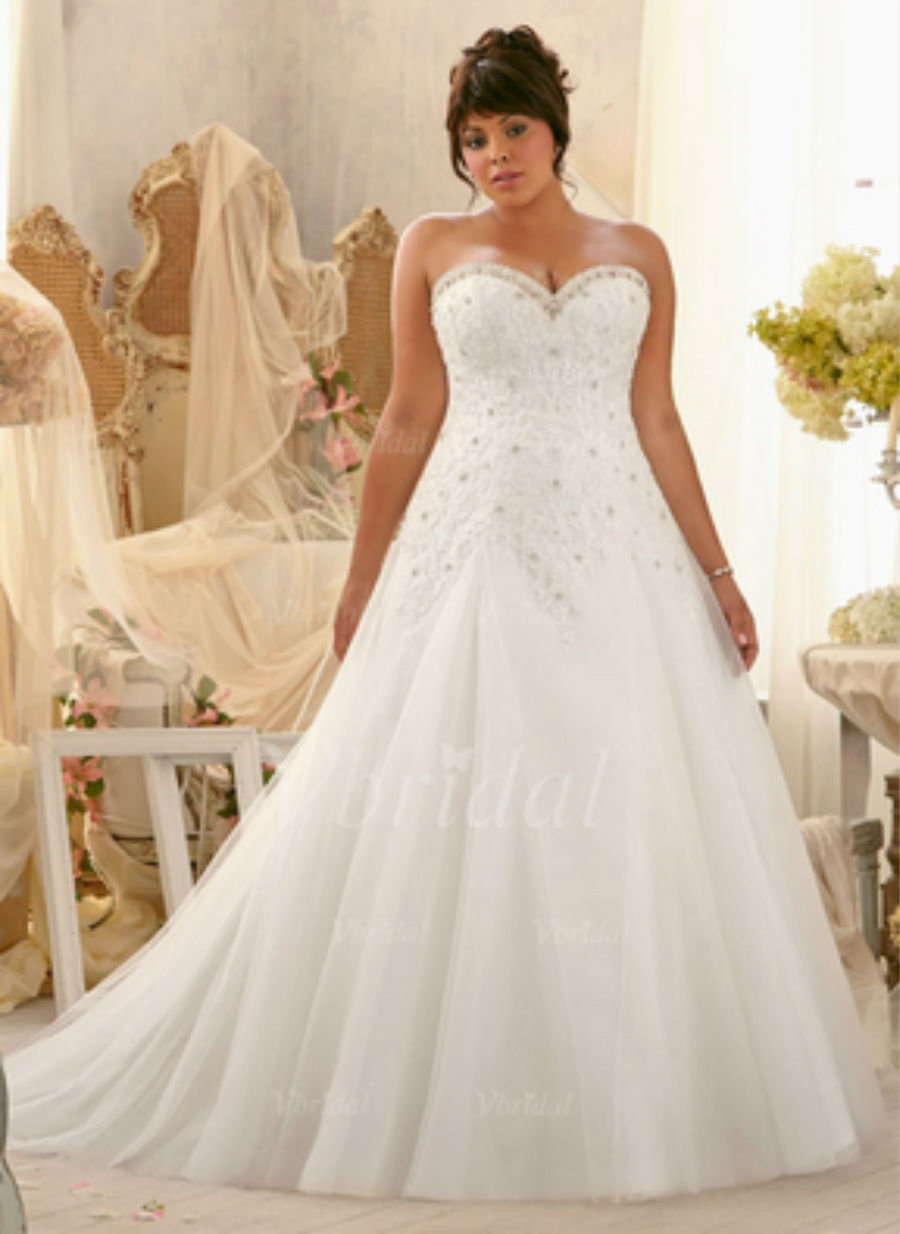 2015 Plus Size White/Ivory Bridal Gown Lace Wedding Dress ...