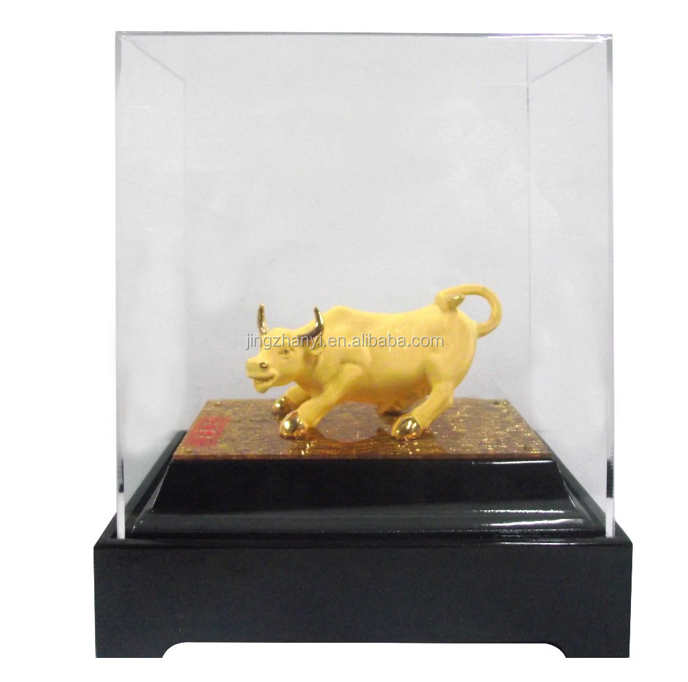 2014 Varies Newly brass plated 24 k gold Cow Statue , Custom brass Animal Figurine