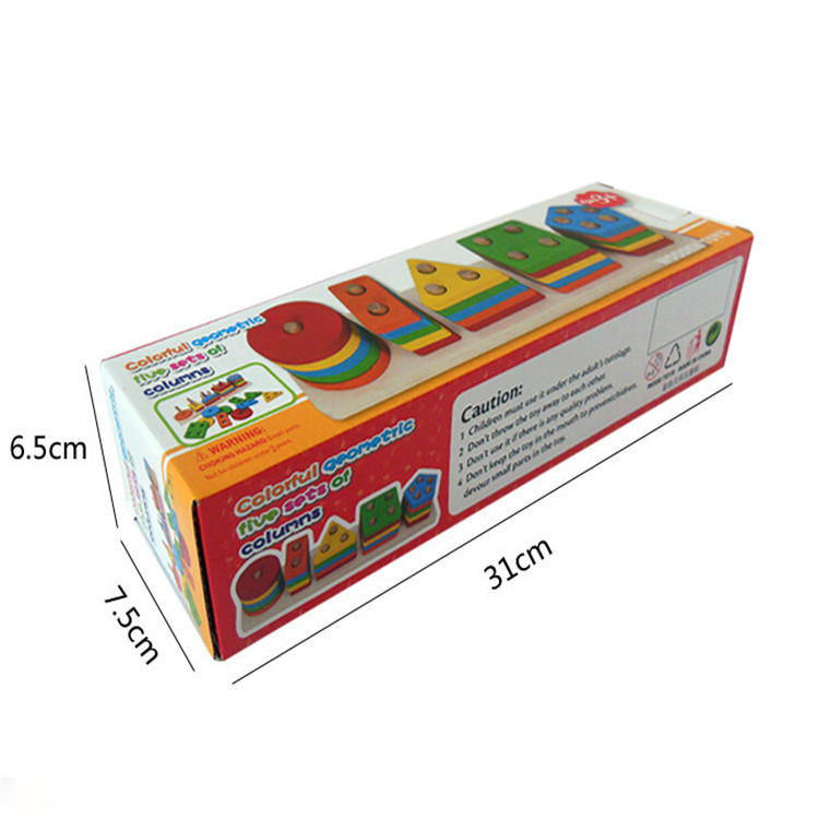 Custom color packaging box wooden block kids training educational wooden toy