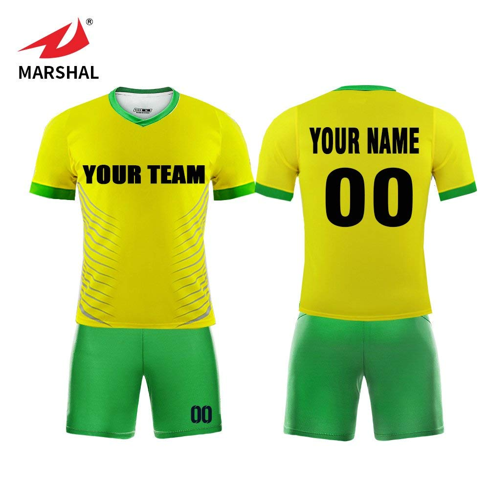 5faff0be5 Get Quotations · Marshal Jersey Custom Soccer Uniforms Yellow and Green  Soccer Team Jersey For Men