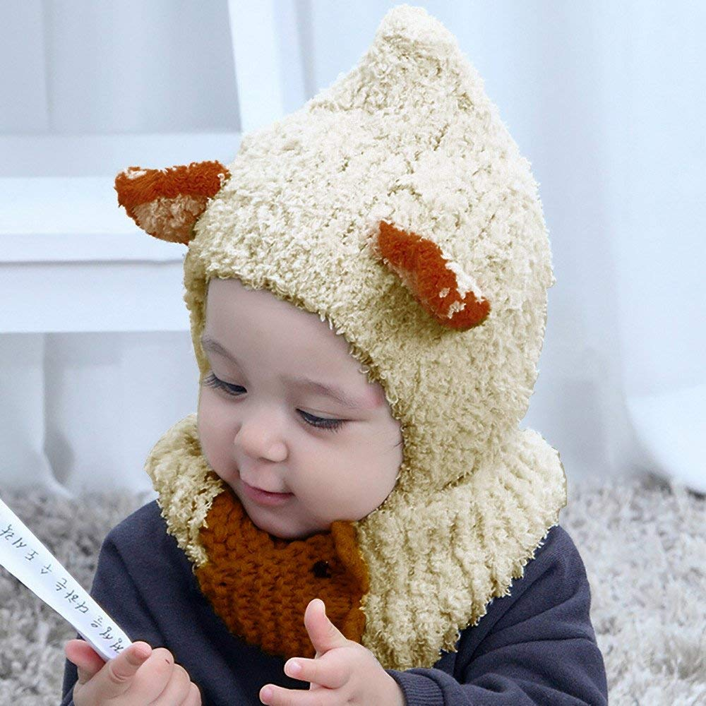 95f82a51f2d Get Quotations · Jshuang Super Soft Cartoon Coral Fleece Baby Hat Scarf  Two-Piece