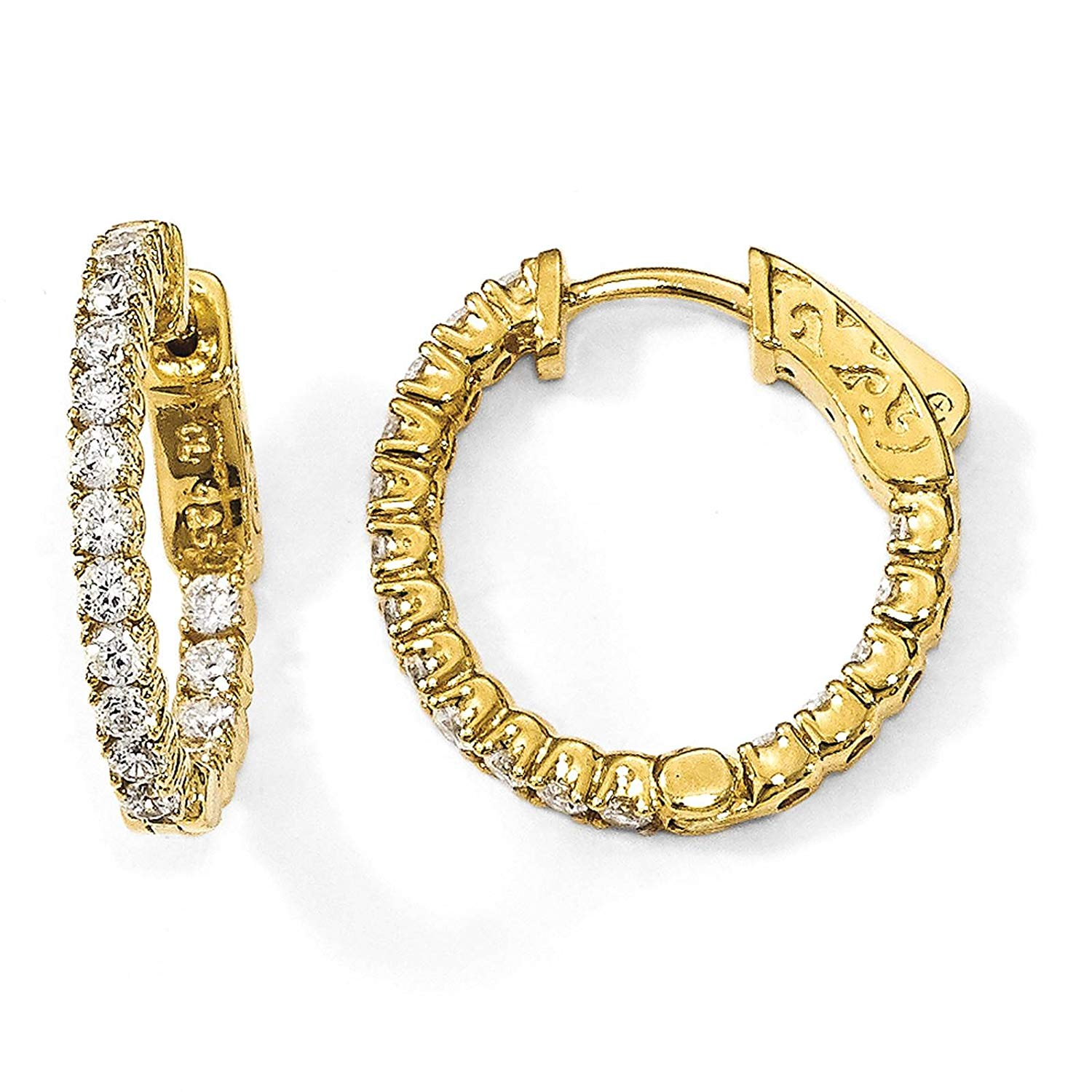 .925 Sterling Silver Gold-tone CZ In & Out Round Hoop Earrings 2mm x 19mm by Sterling Shimmer