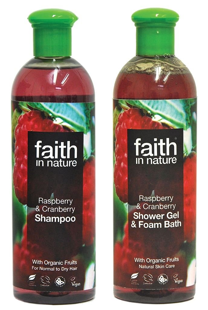 Faith In Nature Raspberry & Cranberry Shampoo 400ml & Shower Gel 400ml Duo