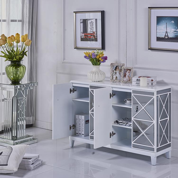 Luxury modern white lacquer grey mirror chest shoe shelf cabinet