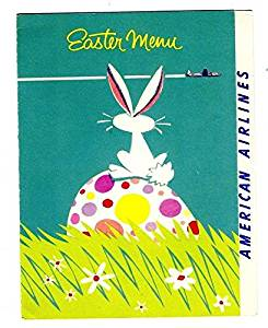 American Airlines Easter Menu 1956 Bunny Egg