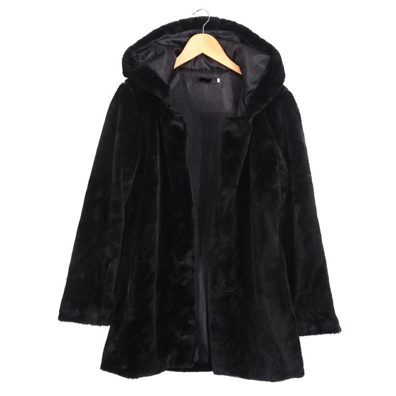 2019 2016 Winter Women Hooded Faux Fur Coat Fashion Warm Long ... 33f743def0