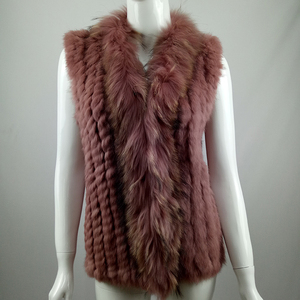 Women Genuine Rabbit Fur Raccoon Fur Collar Knitted Vest