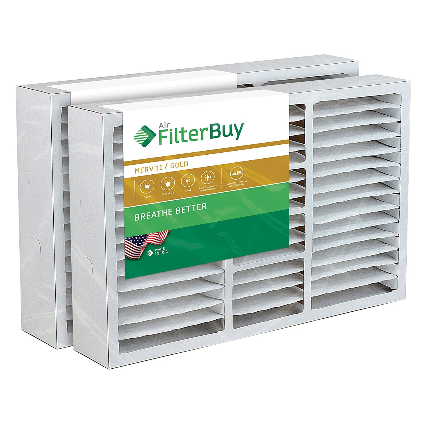 FilterBuy 16x25x5 Amana Replacement AC Furnace Air Filters - AFB Gold MERV 11 - Pack of 2 Filters. Designed to replace FS1625, M1-1056, MU1625, 9183950.