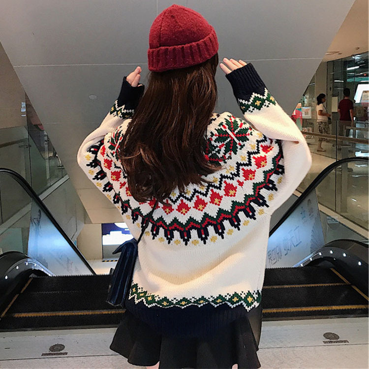 women fashion christmas fashion style loose sweater with multicolor jacquard knit