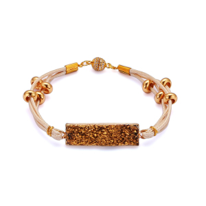 2018 new products adjustable druzy stone connector handmade gold plated jewelry accessories leather bracelet bangle