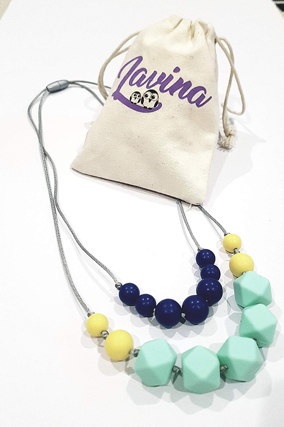 Baby Teething Necklaces, Lavina Mom Nursing Necklace with Food Grade, FDA Approved, BPA Free Silicone Beads, 4 Stylish Designs with Colorful Beads, A Perfect Baby Shower Gift, Necklaces for Women