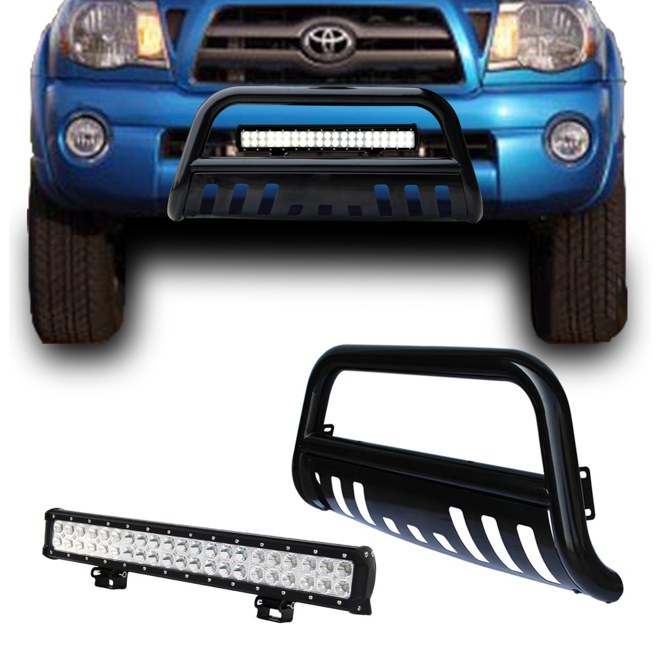 Stainless Front Bumper Grill Grille Guard by IKON MOTORSPORTS Bull Bar Fits 2005-2015 Toyota Tacoma 2006 2007 2008 2009 2010 2011 2012 2013 2014