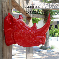 Modern Fashion Arts Glossy Red Resin Rhino Head
