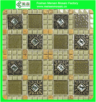 Crystal glass mosaic tiles stone wall tile installation with promotion price bronze mosaic tile MK0410