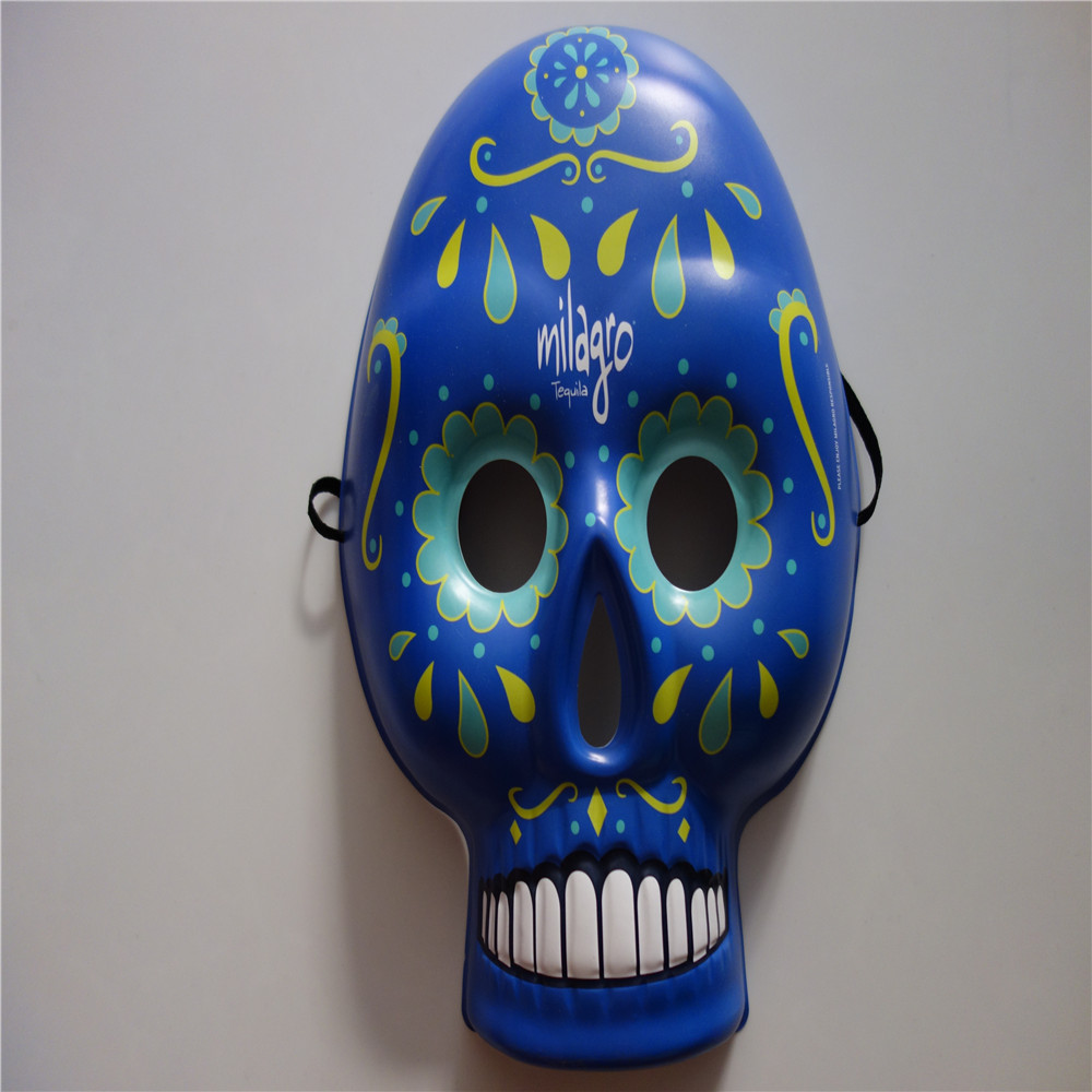 Blue skull plastic mask pvc face mask for halloween