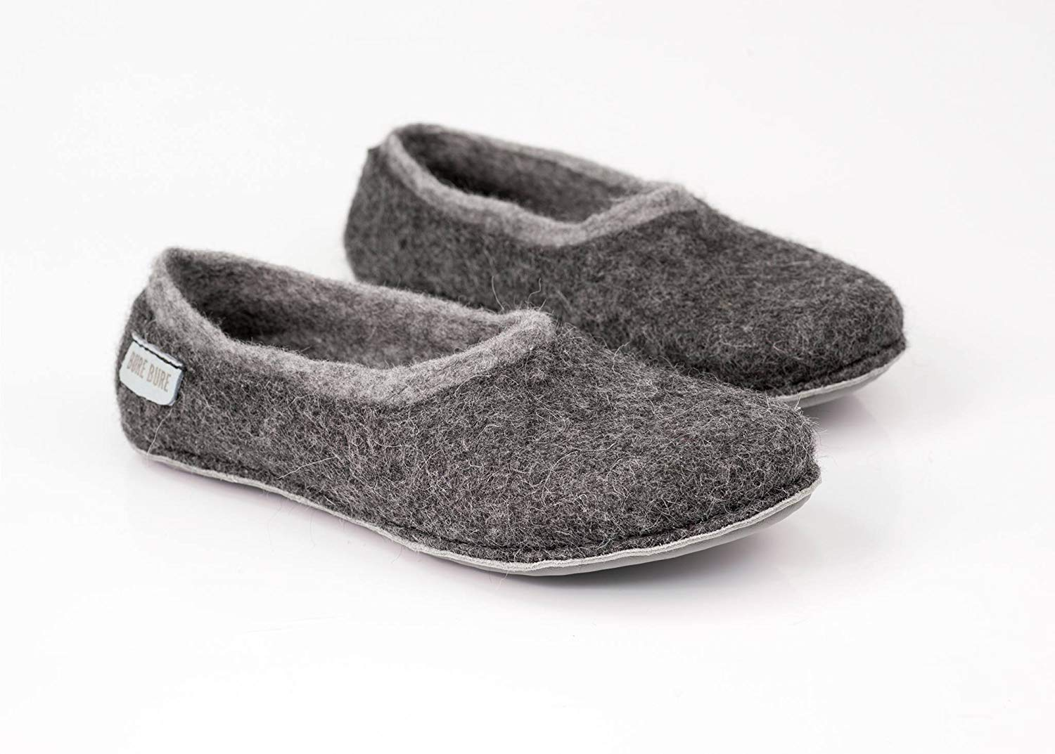 63698f69236a Get Quotations · Gray felted wool slippers for adult men, Handmade boiled  wool slippers