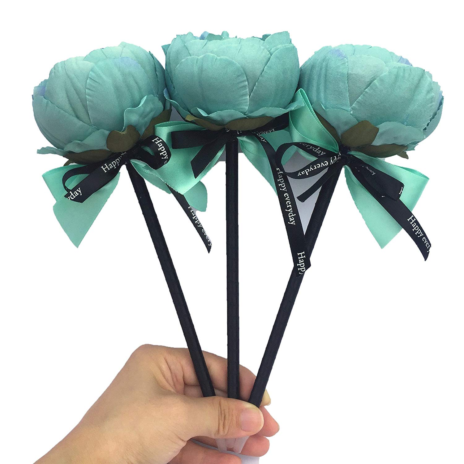 Buy 3pcs Teal Peony Artificial Flowers Ballpoint Pens Handicraft