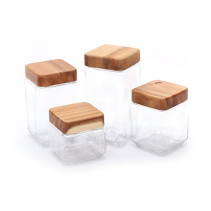 100Ml Square Shape Glass Canister Storage Jar Set With Acacia Wooden Lid