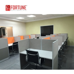 Guangzhou 4 Person Cross Design Workstation Furniture Orange Cubicle Dividers