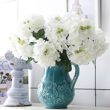6 Head Vivid Silk Flowers Artificial Hydrangea Flowers Wall Home Wedding Decor Decoration