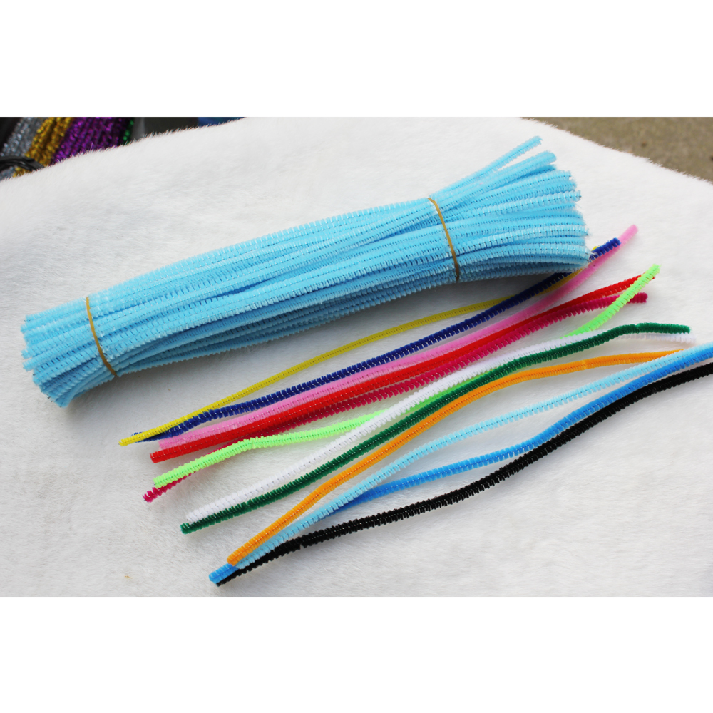 100pcs 5mm Chenille Stems Pipe Cleaners Children Kids Plush Educational Toy Crafts Colorful Pipe Cleaner Toys